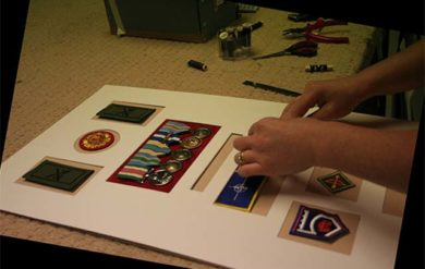 military medal framing sewing on